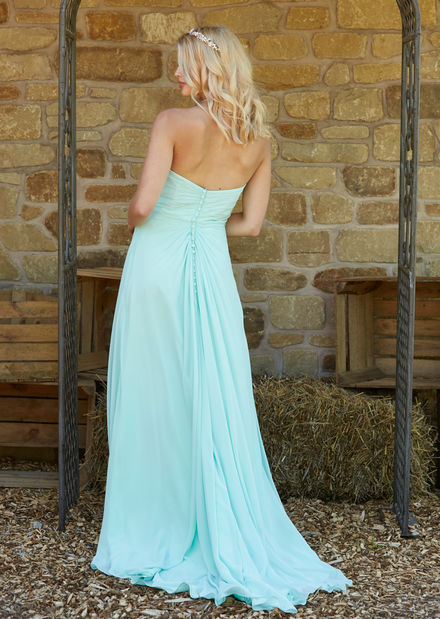 Strapless Chiffon Bridesmaid Dress with Beaded Trim