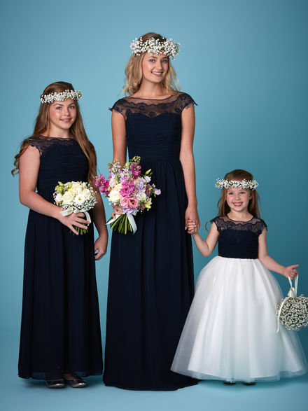 Full Length Bridesmaid Set with Pleated Bodice