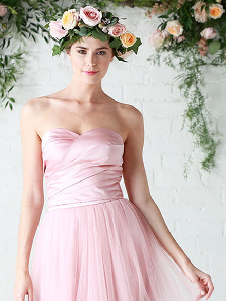 52c842e0b Satin strapless bandeau bridesmaid topper with pleats and a ...
