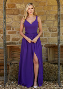 Chiffon Bridesmaids Dress with Split Skirt