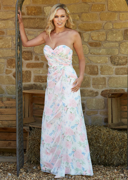 Floral Print Bridesmaids Dress with frill detail