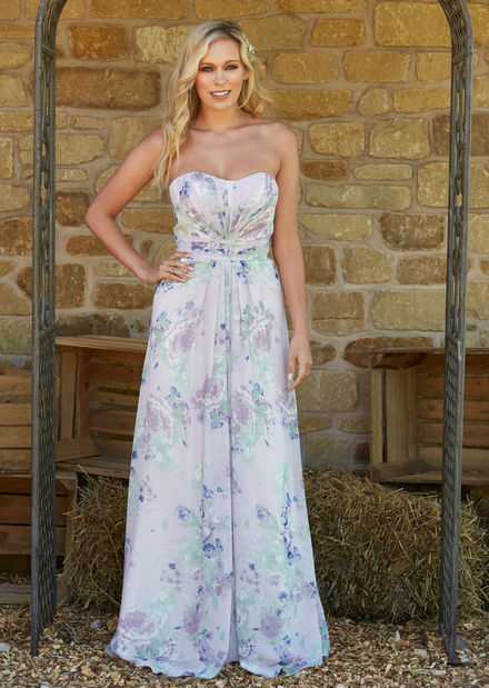 Floral Chiffon Bridesmaids Dress