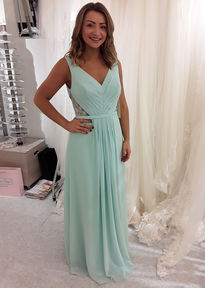 Full Length Bridesmaids Dress with Lace Cutout Sides