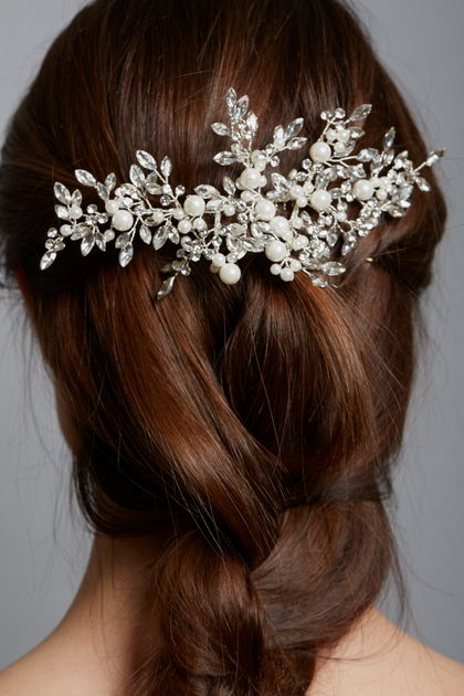 AW1261 Pearl & Diamante Bridal Comb
