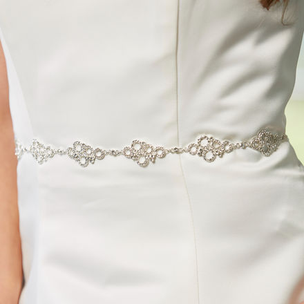 AW1301 Narrow Diamante Bridal Belt