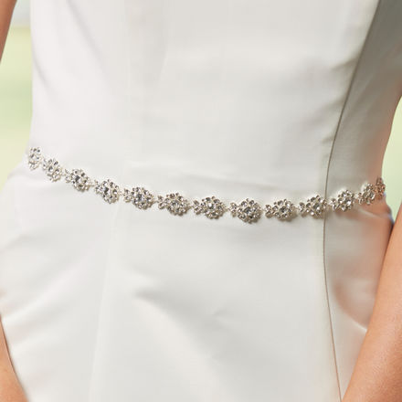 AW1312 Diamante Flower Bridal Belt