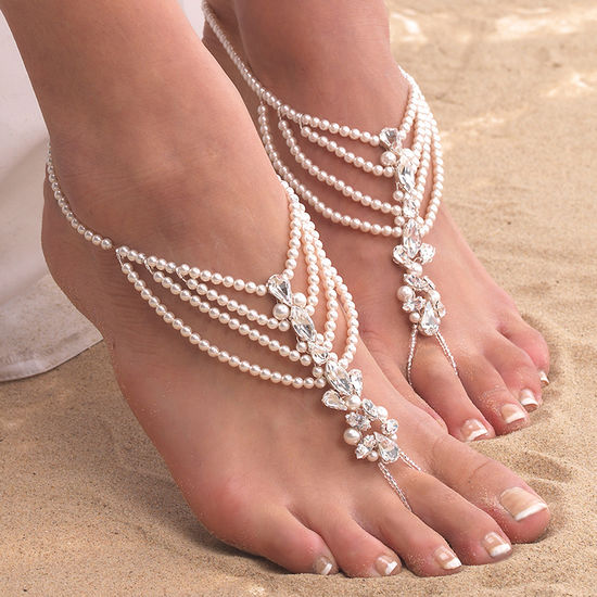 6fde1a431a6d ARS011 Draped Pearl Barefoot Sandals with Diamante Detail by ...