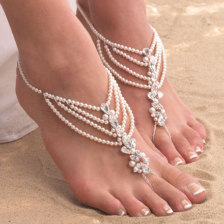 Draped Pearl Barefoot Sandals