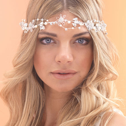 Full Pearl & Crystal flower Circlet / Halo