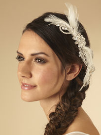 Bridal Hair Vine With Feathers