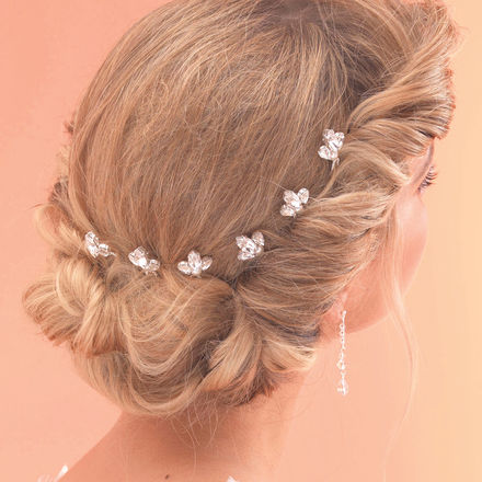 Set of 6 Diamante & Pearl Hairpins