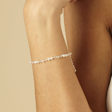 Linked Pearl & Crystal Bracelet