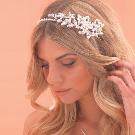 Diamante Side Tiara with Pearl Flowers