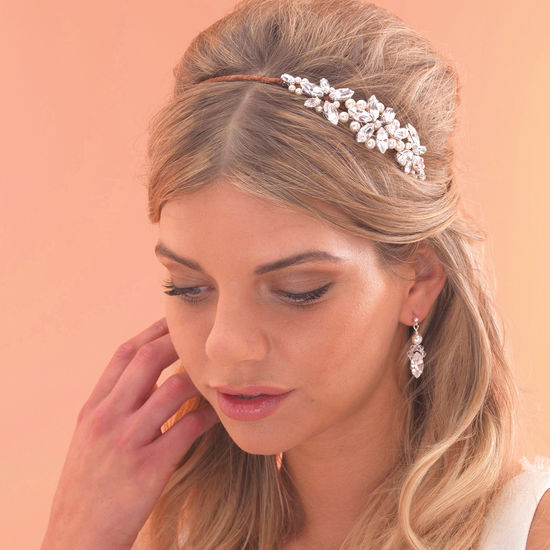 Vintage Style Side Tiara with Pearls. Shown in Silver with Ivory Pearls and  a Brown Ribbon Bound Headband. fc4023d95e6
