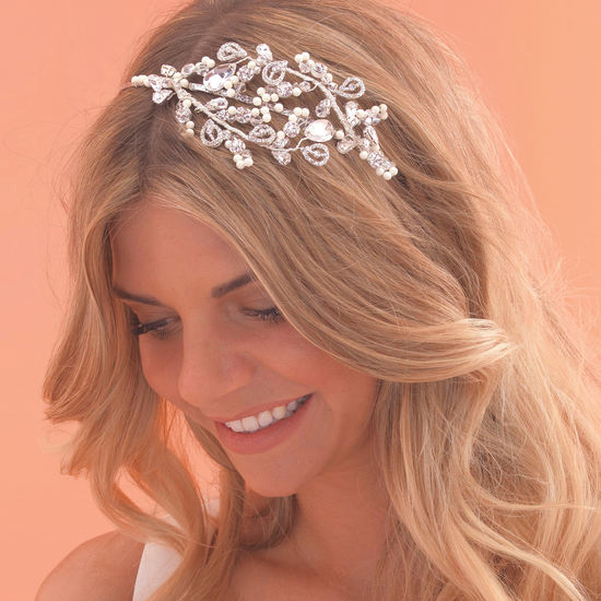 vintage swirl side tiara with diamante teardrops a scattering of
