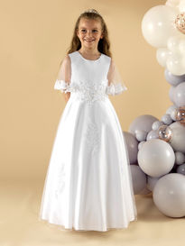 Satin & Tulle Communion Dress with Waterfall Sleeves