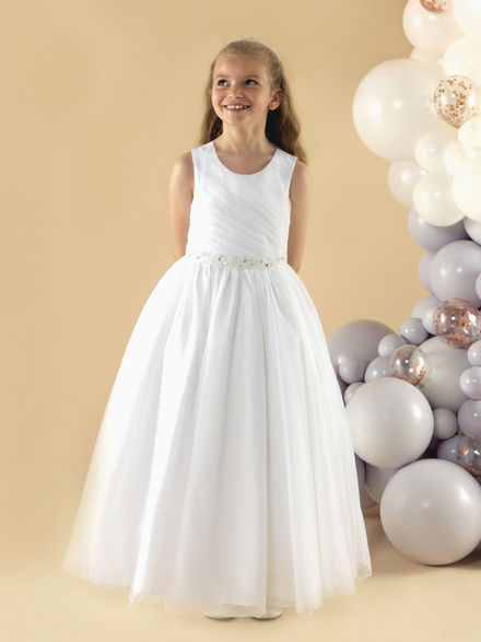 Soft Tulle Communion Dress with Pleated Bodice