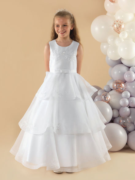 Organza Communion Dress with Tiered Skirt