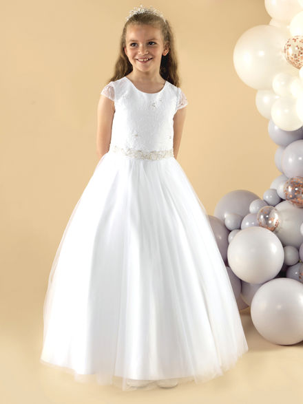 Capped Sleeve Lace & Tulle Communion Dress