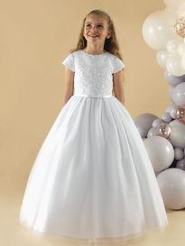 b347dbcbfbf9 Satin & Lace Communion Dress with Sparkle Skirt