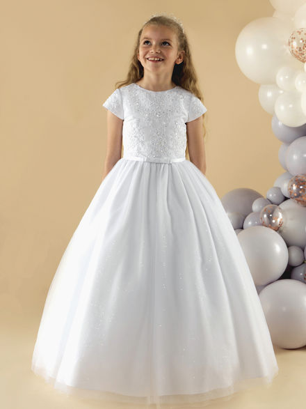 Satin & Lace Communion Dress with Sparkle Skirt
