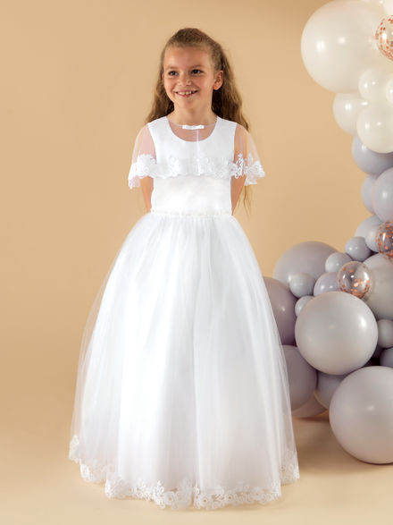 Satin & Tulle Communion with Lace Edge Cape