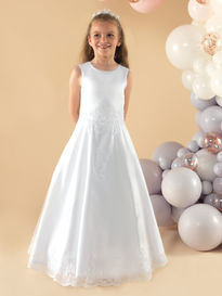 Satin Communion Dress with Lace Appliques