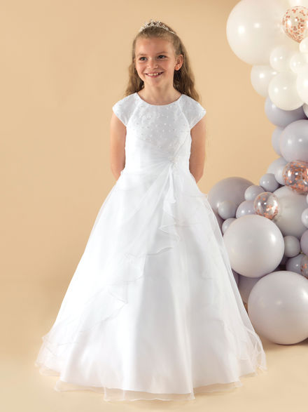Ruched Skirt Communion Dress with Beaded Bodice