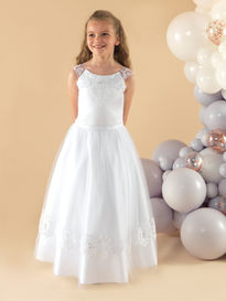 Communion Dress with Illusion Straps