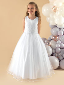 Communion Dress with Ribbon Edged Skirt
