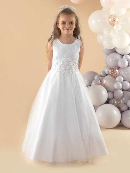 Communion Dress with 3D Flowers