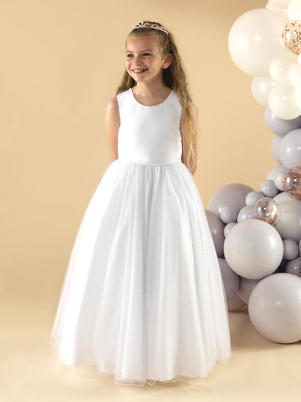 Pearl & Polka Dot Tulle Communion Dress