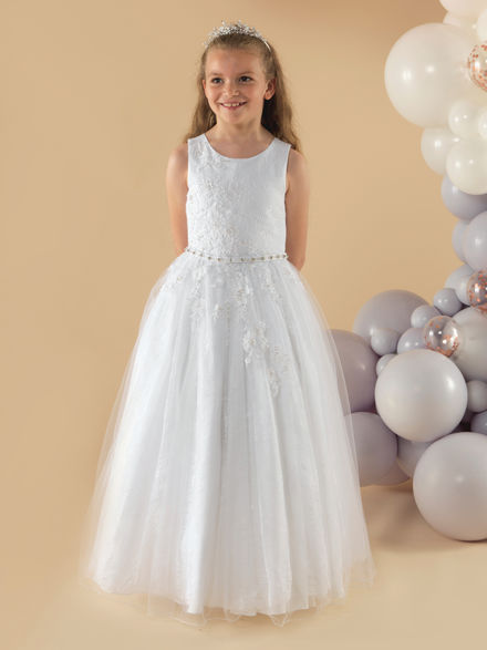 Lace & Tulle Communion Dress with Belt
