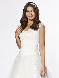 Lace Covered Satin Bodice with Sheer Lace Sleeves