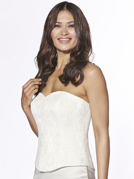 Lace Covered Satin Bodice with Sweetheart Neckline
