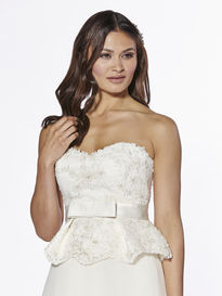 Peplum Satin Bodice with Lace Appliques