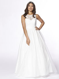 Wedding Dress with Lace Illusion Neckline