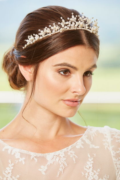 AW1291 Pearl & Diamante Bridal Tiara