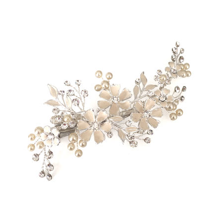Enamel Look Flowers Bridal Clip