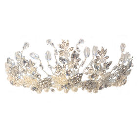 Diamante & Pearl Leaf Tall Tiara