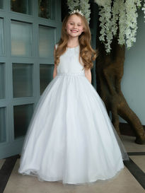 Beaded Satin & Tulle Gown with Bow