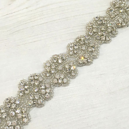 Silver Beaded Diamante Trim Bridal Belt