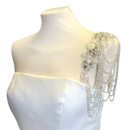 Shoulder Straps with draped diamante and pearls