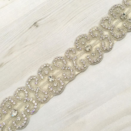 Diamante Scrolled Pattern Beaded Bridal Belt