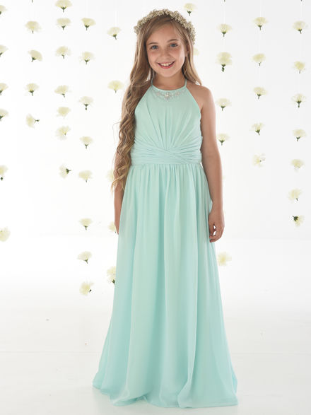 Junior Bridesmaids Dress with High Neck