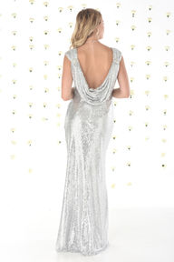 Cowl Back Sequin Bridesmaids Dress