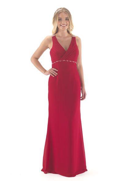 Full Length Bridesmaid Dress with Diamante Band