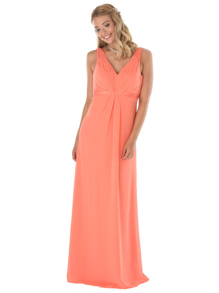 Pleated V Neck Bridesmaid Dress