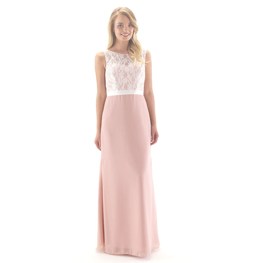 Chiffon Full Length Dress with Lace Top Overlay