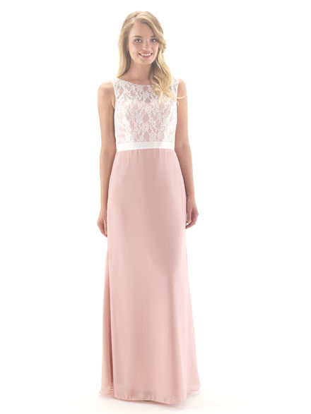 Lace & Chiffon Full Length Bridesmaid Dress
